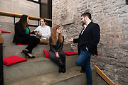 02/04/2019 Repro free:  <br />   Nicola Barrett, Senior Marketing Managerat Connacht Rugby and Mark Quick, Founding Director 9th Impact and Founding Director, Nephin Whiskey, with <br /> Kathryn Harnett- Senior Consultantat Milltown Partners LLP and Giovanni Tummarello- Founder and CPOat Siren at Harvest in the Mick Lally Theatre , an opportunity to share ideas for innovation and growth and discuss how to cultivate the city as a destination for innovation, hosted by GTC  and Sponsored by AIB and The Sunday Business Post .<br /> <br />  Photo: Andrew Downes, Xposure