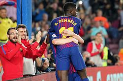 May 9, 2018 - Barcelona, Spain - Ousmane Dembele goal celebration during the match between FC Barcelona and Villarreal CF, played at the Camp Nou Stadium on 09th May 2018 in Barcelona, Spain.  Photo: Joan Valls/Urbanandsport /NurPhoto. (Credit Image: © Joan Valls/NurPhoto via ZUMA Press)