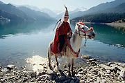 Tourist posing on a horse as a Kazhak bride at Heavenly Lake.