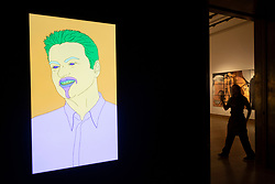 © Licensed to London News Pictures. 08/03/2019. London, UK. Wall mounted commissioned LED artwork portrait of the late George Michael, 2007, by artist Michael Craig-Martin Artwork titled The Incomplete Truth, 2006, by artist Damien First is showing as part of Christies sale of The George Michael Collection of art. All proceeds from the sale will be used to continue George Michael's philanthrophic work. NOTE THIS PHOTO IS EMBARGOED FOR PUBLICATION UNTIL 22:00 FRIDAY 08 MARCH 2019. Photo credit: Ray Tang/LNP