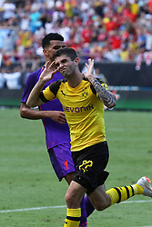 July 22, 2018 - Charlotte, NC, U.S. - CHARLOTTE, NC - JULY 22:  Christian Pukisic (22) of Borussia Dortmund celebrates after scoring a goal in the second half during the International Champions Cup soccer match between Liverpool FC and Borussia Dortmund in Charlotte, N.C. on July 22, 2018. (Photo by John Byrum/Icon Sportswire) (Credit Image: © John Byrum/Icon SMI via ZUMA Press)