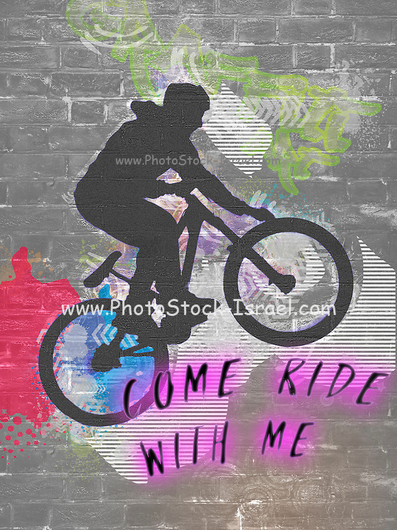 Come ride with me, wall graffiti image of a bicycle stunt