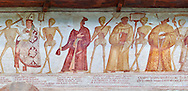 """The Church of San Vigilio in Pinzolo and its fresco paintings """"Dance of Death"""" painted by Simone Baschenis of Averaria in1539, Pinzolo, Trentino, Italy ..<br /> <br /> Visit our MEDIEVAL ART PHOTO COLLECTIONS for more   photos  to download or buy as prints https://funkystock.photoshelter.com/gallery-collection/Medieval-Middle-Ages-Art-Artefacts-Antiquities-Pictures-Images-of/C0000YpKXiAHnG2k<br /> <br /> If you prefer to buy from our ALAMY PHOTO LIBRARY  Collection visit : https://www.alamy.com/portfolio/paul-williams-funkystock/san-vigilio-pinzolo-dance-of-death.html ."""