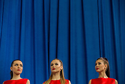 Girls  during victory ceremony on day two of the 2017 European Athletics Indoor Championships at the Kombank Arena on March 4, 2017 in Belgrade, Serbia. Photo by Vid Ponikvar / Sportida