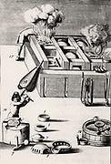 Purification of silver in a muffle furnace. From 1683 English edition of Lazarus Ercker  'Beschreibung allerfurnemisten mineralischen Ertzt- und Berckwercksarten' originally published in Prague in 1574. Copperplate engraving.
