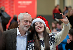 Pictured: Jeremy Corbyn meets volunteer Suzi Muring from Hamilton.<br /> <br /> Labour leader Jeremy Corbyn travelled to Scotland to attend a festive lunch for homeless charities and volunteers in Edinburgh on Sunday, along with Scottish Labour leader Richard Leonard.<br /> <br /> © Dave Johnston / EEm