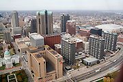 St. Louis Missouri MO USA, The view from the Gateway Arch observation deck - Northwest to St. Louis the old Courthouse and Edward Jones dome in view October 2006