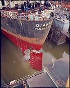 """Ackroyd C03826-6. """"NW Marine Iron Works. Rudder on Dianna. March 20, 1975"""" (Swan Island drydock)"""