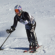 Adam Hall, New Zealand, in action during the Men's Slalom Standing, Adaptive Slalom competition at Coronet Peak, New Zealand during the Winter Games. Queenstown, New Zealand, 25th August 2011. Photo Tim Clayton