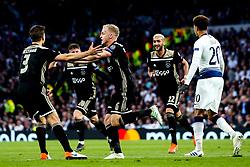 Donny van de Beek of Ajax celebrates scoring a goal to make it 1-0 - Mandatory by-line: Robbie Stephenson/JMP - 30/04/2019 - FOOTBALL - Tottenham Hotspur Stadium - London, England - Tottenham Hotspur v Ajax - UEFA Champions League Semi-Final 1st Leg