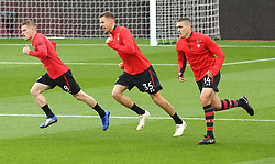 """Southampton's Oriol Romeu (right) , Jan Bednarek and Steven Davis (left) warm up prior to the Premier League match at St Mary's Stadium, Southampton. PRESS ASSOCIATION Photo. Picture date: Saturday November 10, 2018. See PA story SOCCER Southampton. Photo credit should read: Mark Kerton/PA Wire. RESTRICTIONS: EDITORIAL USE ONLY No use with unauthorised audio, video, data, fixture lists, club/league logos or """"live"""" services. Online in-match use limited to 120 images, no video emulation. No use in betting, games or single club/league/player publications."""