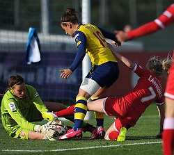 Bristol Academy's Nadia Lawrence battles for the ball with Arsenal Ladies' Emma Byrne and Jemma Rose - Photo mandatory by-line: Paul Knight/JMP - Mobile: 07966 386802 - 09/05/2015 - SPORT - Football - Bristol - Stoke Gifford Stadium - Bristol Academy Women v Arsenal Ladies FC - FA Women's Super League