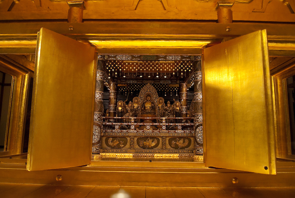 """The Konjikido (""""Golden Hall"""") buddhist repository at Chusonji temple, Hiraizumi, Japan, 28 August 2008. The temple was founded in 850. Hiraizumi in Northern Japan flourished as the seat of the Oshu Fujiwara clan for around 100 years from the end of the 12th century. The city was built to be an earthly recreation of the Buddhist """"Pure Land"""" or Nirvana."""