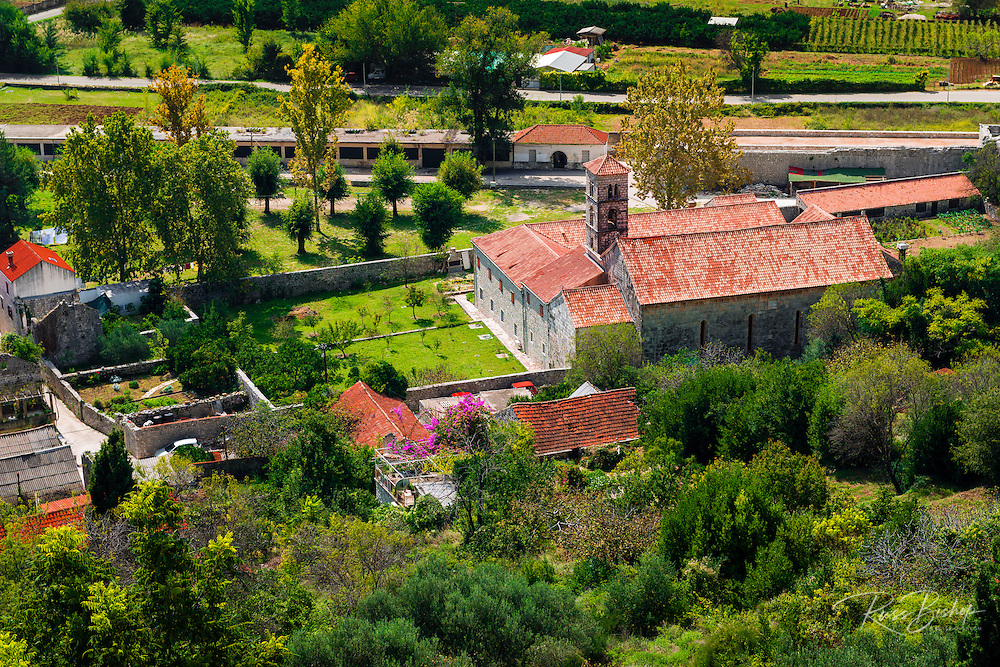 Church and houses from Great Wall, Ston, Dalmatian Coast, Croatia