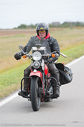 Jeff Lauritsen riding his 1934 Harley-Davidson VLD during Stage 8 of the Motorcycle Cannonball Cross-Country Endurance Run, which on this day ran from Junction City, KS to Burlington, CO., USA. Saturday, September 13, 2014.  Photography ©2014 Michael Lichter.