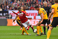 Kasey Palmer (45) of Bristol City is fouled by Willy Boly (15) of Wolverhampton Wanderers during the The FA Cup 5th round match between Bristol City and Wolverhampton Wanderers at Ashton Gate, Bristol, England on 17 February 2019.