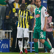 Fenerbahce's Mamadou NIANG (L) celebrate his goal during their Turkish superleague soccer match Fenerbahce between Konyaspor at the Sukru Saracaoglu stadium in Istanbul Turkey on Sunday 13 March 2011. Photo by TURKPIX