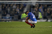 Football - 2018 / 2019 EFL Sky Bet League One - Play-Off Semi-Final,Second Leg: Portsmouth (0) vs. Sunderland (1)<br /> <br /> Portsmouth's Gareth Evans squats down at the final whistle as Sunderland grind out a draw to take them through to the league one play off final<br /> at Fratton Park <br /> <br /> COLORSPORT/SHAUN BOGGUST