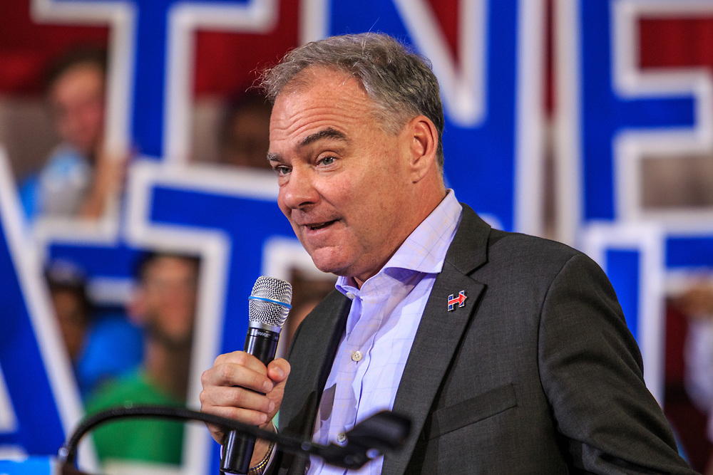 Lancaster, PA - August 30, 2016: Democrat Party Vice Presidential Candidate Senator Tim Kaine speaks at a campaign appearance at a rally.