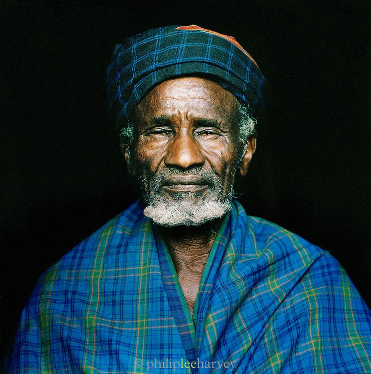 Portrait of Hamer tribal Elder in Turmi, Lower Omo Valley, Ethiopia