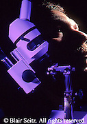 microbiology, researcher, double exposure, microscope