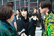 SUSY MENKES; MINA WAKATSKIi; YU MASUI,  Yohji Yamamoto exhibition opening. V & A Museum. London. 10 March 2011. -DO NOT ARCHIVE-© Copyright Photograph by Dafydd Jones. 248 Clapham Rd. London SW9 0PZ. Tel 0207 820 0771. www.dafjones.com.