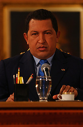 President Hugo Chavez at a press conference on  April 11, 2003. The date marks the one year anniversary of a gunfight which led to a military uprising resulting in President Chavez losing power for 2 days.