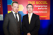 Michael Smith Ballybane Enterprise Centre Manager  with Damien English TD, Minister of State at the Department of Jobs, Enterprise & Innovation at the annual SCCUL Enterprise Awards prize giving ceremony and business expo which was hosted by NUI Galway in the Bailey Allen Hall, NUIG. Photo:Andrew Downes