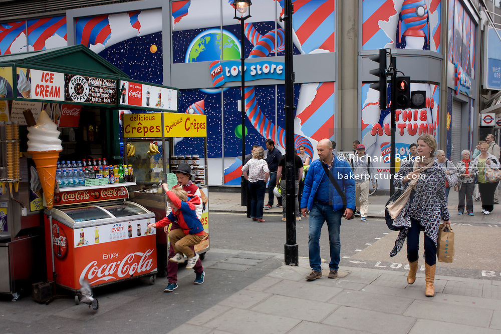 Incongruous urban landscape on central London's Oxford Street.
