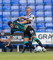 Swansea City's Rhian Brewster (left) is tackled by Reading's Michael Morrison (right) <br /> <br /> Photographer David Horton/CameraSport<br /> <br /> The EFL Sky Bet Championship - Reading v Swansea City - Wednesday July 22nd 2020 - Madejski Stadium - Reading <br /> <br /> World Copyright © 2020 CameraSport. All rights reserved. 43 Linden Ave. Countesthorpe. Leicester. England. LE8 5PG - Tel: +44 (0) 116 277 4147 - admin@camerasport.com - www.camerasport.com