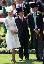Kate, Duchess of Cambridge, Sir Francis Brooke, and Prince William, during day one of Royal Ascot at Ascot Racecourse.