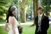Wedding couple Portland Park Blocks