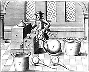 Distillation of Nitric Acid.  Also known as Aqua Fortis or Parting Acid, nitric acid was widely used in the refining and assaying of metals. From 1683 English edition of 'Beschreibung allerfurnemisten mineralischen Ertzt', Lazarus Ercker, (Prague, 1574). Copperplate engraving.