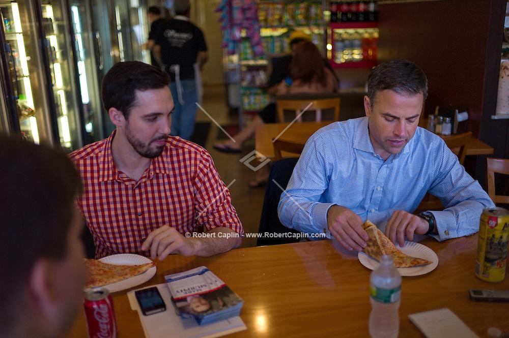 Mark Murphy (D), congressional candidate in Staten Island at a Vincent's pizza shop in Staten Island. ..Photo © Robert Caplin..