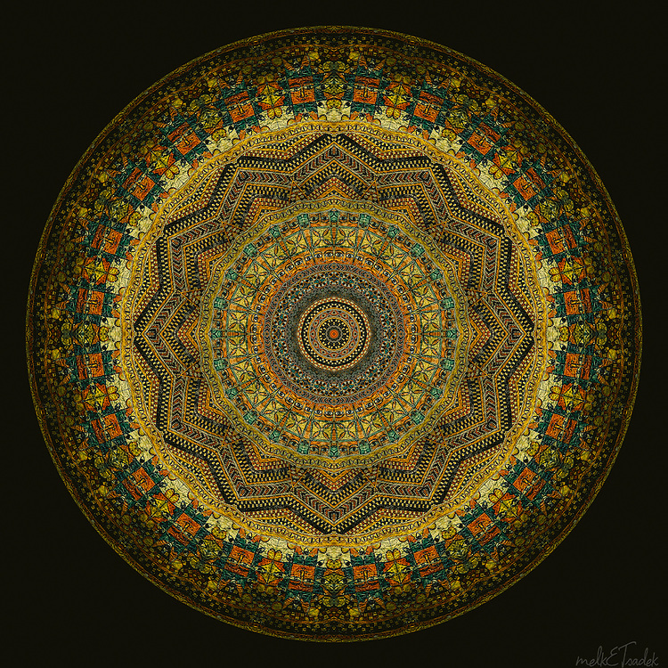 """Sacred art mandala inspired by ancient manuscripts with colors ranging from orange-gold to emerald green and geometrically """"feng shui-ed"""" tailsmanic symbols from Ethiopia."""