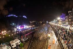 Crowd at the 9pm Countdown Fireworks lit from Edinburgh Castle.<br /> Edinburgh's Hogmanay 2013.
