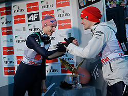 01.01.2020, Olympiaschanze, Garmisch Partenkirchen, GER, FIS Weltcup Skisprung, Vierschanzentournee, Garmisch Partenkirchen, im Bild Karl Geiger belegt beim zweiten Springen der, Vierschanzen Tournee 19, 20 in Garmisch den 2. Platz und freut sich riesig - Constantin Schmid gratuliert ihm // during the Four Hills Tournament of FIS Ski Jumping World Cup at the Olympiaschanze in Garmisch Partenkirchen, Germany on 2020/01/01. EXPA Pictures © 2019, PhotoCredit: EXPA/ SM<br /> <br /> *****ATTENTION - OUT of GER*****