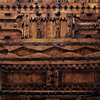 Africa, Morocco, Fes. Carved wood door at Najjarin Funduq, or Nejjarin Fundouk, a UNESCO World Heritage Site.
