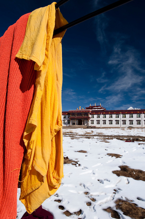 Hanging buddhist monks clothes