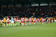 Barnet and Brentford players coming onto the pitch before The FA Cup fourth round match between Barnet and Brentford at The Hive Stadium, London, England on 28 January 2019.