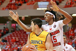 05 November 2016:   Joseph Tagarelli looks for a way past Andre Washington(15) during an NCAA  mens basketball game where the Quincy Hawks lost to the Illinois State Redbirds in an exhibition game at Redbird Arena, Normal IL