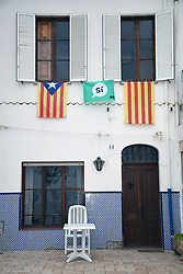 Catalonia, Spain Sep 2017. Llafranc on the Costa Brava. On 1 October Catalans will go to the polls to vote in a referendum on whether to secede from Spain and form an independent republic however Madrid says the referendum is unconstitutional. Catalonian flags & 'si' signs proliferate throughout the region.