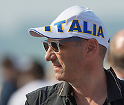 """Rotterdam. Netherlands.  Fan wearing an """"Italia"""" hat.  2016 JWRC, U23 and Non Olympic Regatta. {WRCH2016}  at the Willem-Alexander Baan.   Friday  26/08/2016 <br /> <br /> [Mandatory Credit; Peter SPURRIER/Intersport Images]"""