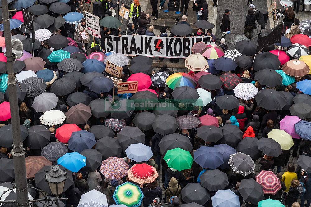 October 3, 2017 - Wroclaw, Poland - Black Protest - Women's Strike. Polish women protesting on the streets against tighter abortion laws in Poland. Umbrellas become a sign of protest. Wroclaw. Poland (Credit Image: © Krzysztof Kaniewski via ZUMA Wire)