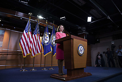 May 2, 2019 - Washington, District of Columbia, U.S. - House Speaker Nancy Pelosi, Democrat of California, speaks with reporters during her weekly news conference on Capitol Hill in Washington, D.C. on May 2, 2019. Credit: Alex Edelman / CNP (Credit Image: © Alex Edelman/CNP via ZUMA Wire)