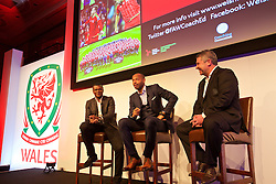 NEWPORT, WALES - Friday, May 20, 2016: Marcel Desailly, Thierry Henry and Osian Roberts during the Football Association of Wales' National Coaches Conference 2016 at the Celtic Manor Resort. (Pic by David Rawcliffe/Propaganda)