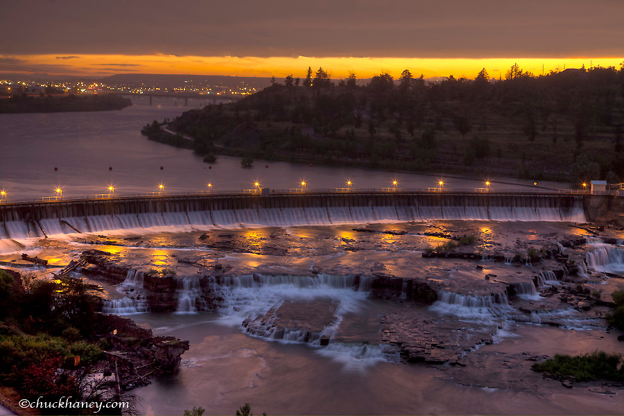Black Eagle Dam on the Missouri River at dusk in Great Falls, Montana, USA