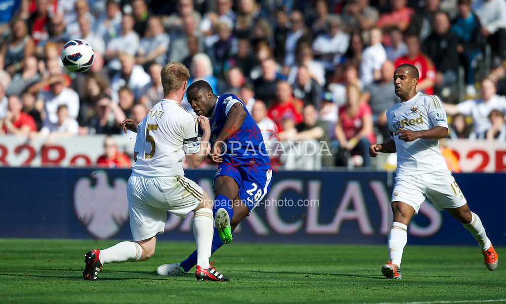 SWANSEA, WALES - Saturday, September 22, 2012: Everton's Victor Anichebe in action against Swansea City during the Premiership match at the Liberty Stadium. (Pic by David Rawcliffe/Propaganda)
