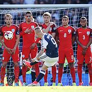 Scotland v England 2018 FIFA World Cup Qualifier Hampden Park, Glasgow UK. Scotland's Leigh Griffiths scores goal to make it 1-1.<br /> 10th June 2017