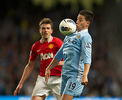 MANCHESTER, ENGLAND - Monday, April 30, 2012: Manchester City's Samir Nasri in action against Manchester United during the Premiership match at the City of Manchester Stadium. (Pic by David Rawcliffe/Propaganda)